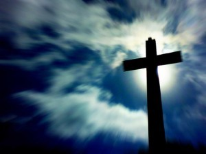 cross with blue background